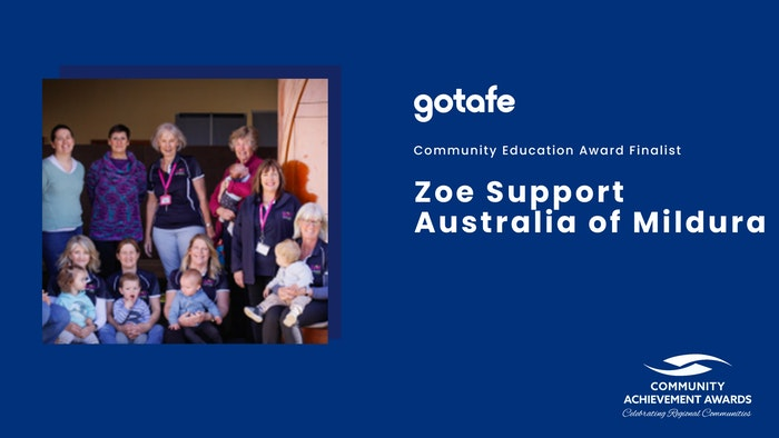 Community Education Award Finalist: Zoe Support Australia (photo of women and children smiling)