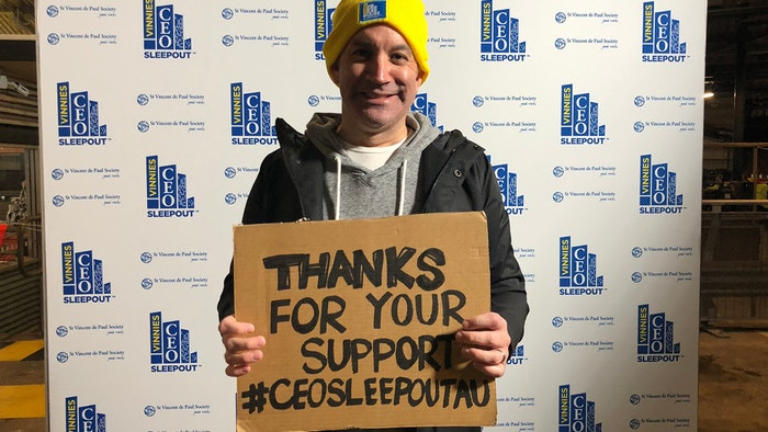 GOTAFE CEO Travis Heeney after doing the CEO Sleepout
