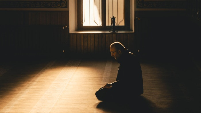 Praying in the mosque for Ramadan