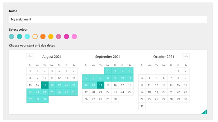 Screenshot of Studiosity calendar