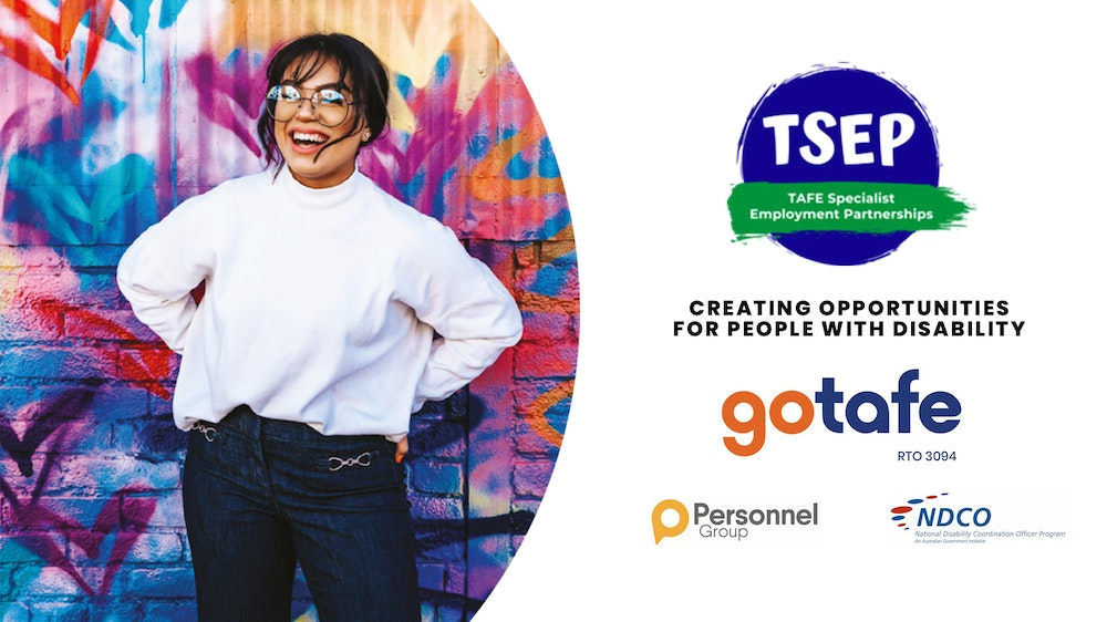 TSEP creating opportunities for people with disability (Logos: GOTAFE, Personnel Group, NDCO)